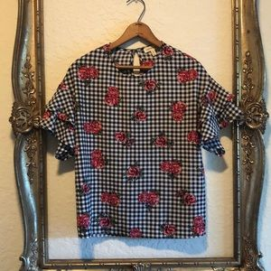 Gingham and Floral Blouse